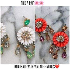Flower Power Vintage Findings & Crystal Earrings